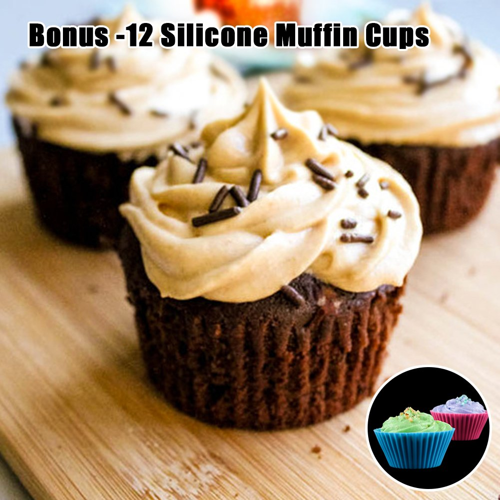 Silicone Muffin Cupcake Pan Set - Mini 24 Cups and Regular 12 Cups Muffin Tin, Nonstick BPA Free Best Food Grade Silicone Molds with Bonus 12 Silicone Baking Cups by Silikolove (Image #8)
