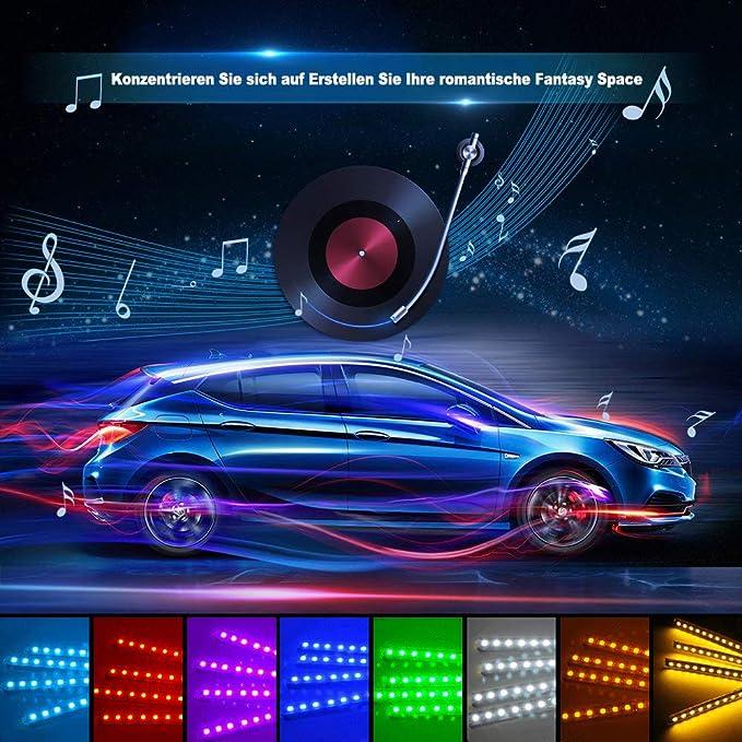 4pcs 72 LED Auto LED Strip 12V Specell Auto Led innenbeleuchtung APP Steuerbare Ambientebeleuchtung mit Zigarettenanz/ünder RGBIC Magie Mehrfarbig Regenbogenfarben Musik Synchronisiert Wasserdicht