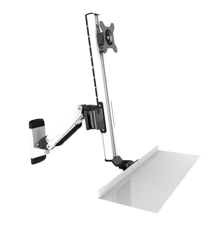 HFTEK® FY02CWS Workfit Workstation Sit & Stand Supporto per Monitor Supporto da Parete Fino a 27 Pollici con VESA 75/100 (FY02CWS)