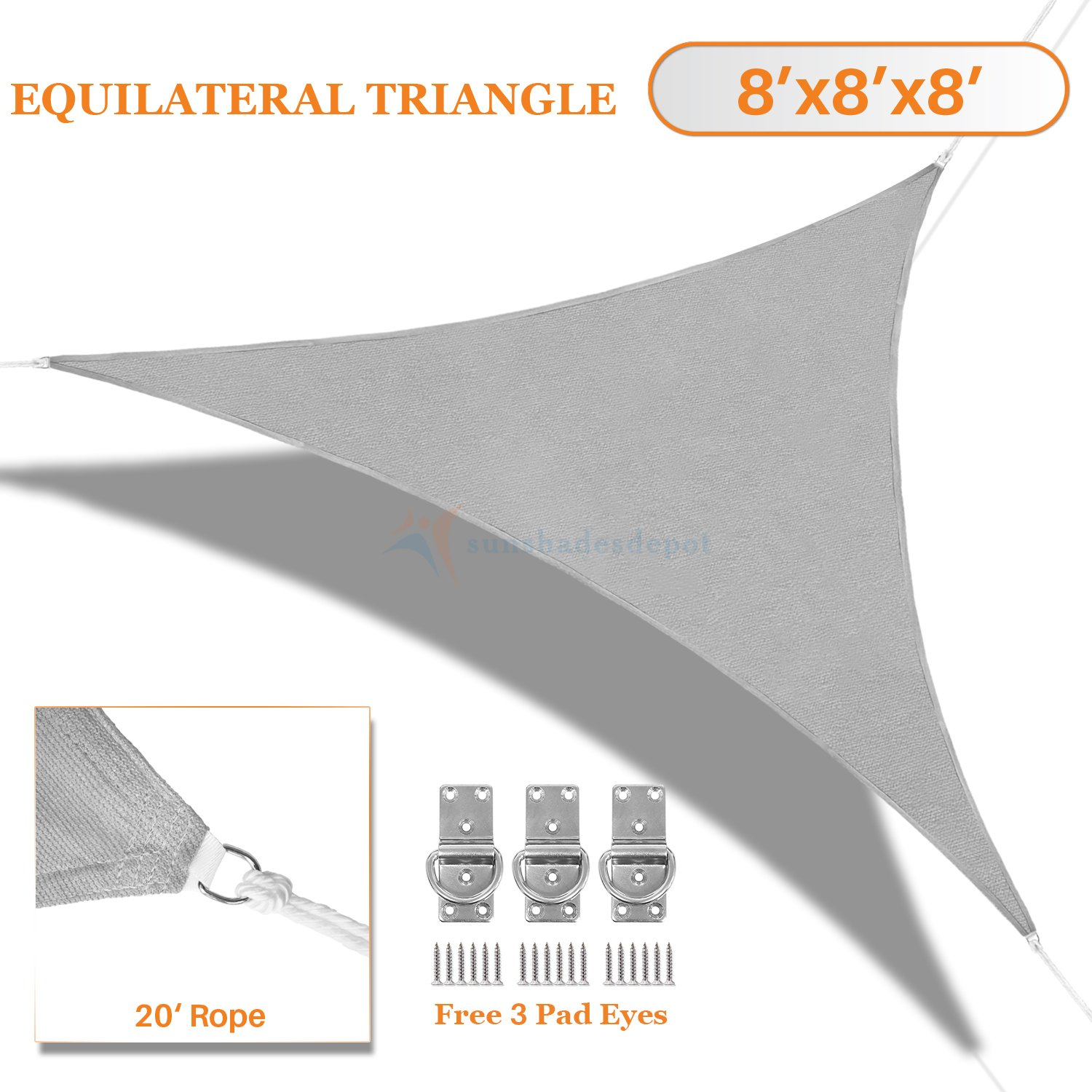 Sunshades Depot 8' x 8' x 8' Light Grey Sun Shade Sail 180 GSM Equilateral Triangle Permeable Canopy Custom Commercial Standard