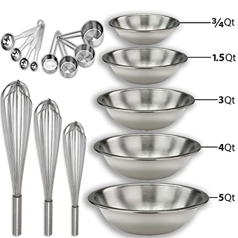 21be2be2bef Amazon.com  Stainless steel Mixing Bowls Set and Baking Utensils Kit ...