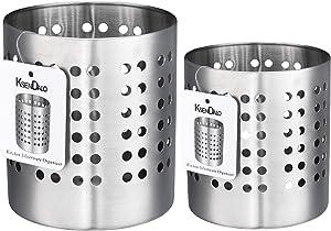 """Kitchen Utensil Holder, KSENDALO Stainless Silverware Holder Set of 2, Kitchen Utensil Drying Cylinder,utility for Kitchen/Home/Office, Diameter 4.72""""&3.94""""(L&S)"""
