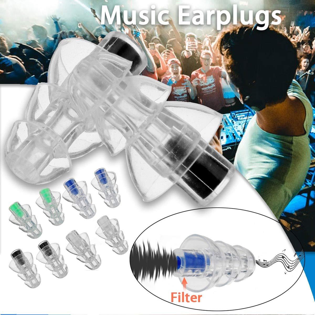 Negro Vaorwne 27Db Silicona Earbud Musician Filter Tapones para Los O/íDos Reducci/óN De Ruido Cancelaci/óN De la Protecci/óN Auditiva Earbud Reutilizable Cuidado Del Sue?o para Dj