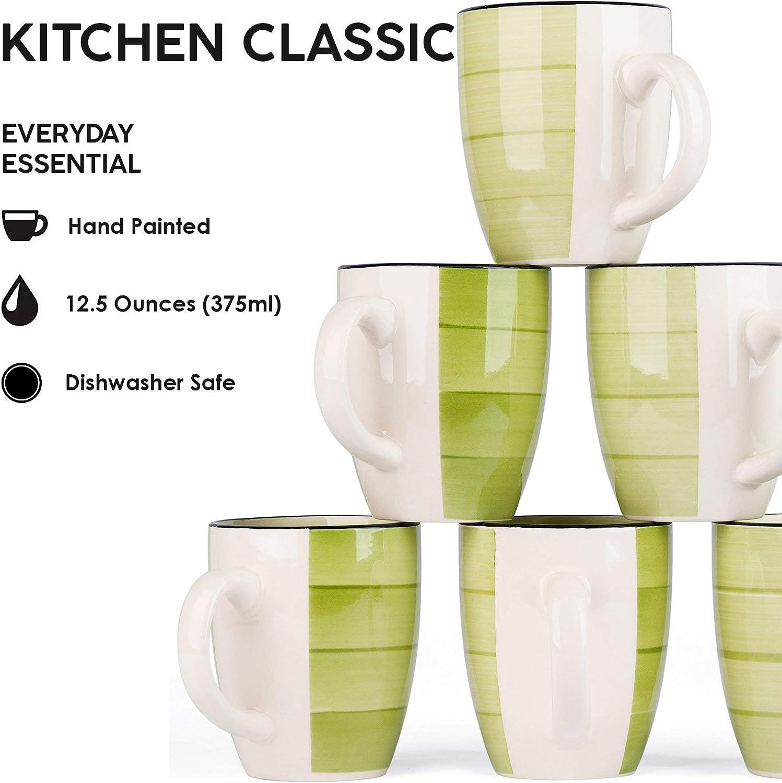Hand Made Stoneware Ceramic 12.5 Ounces, 6 Pieces LVKH Green Coffee Mugs