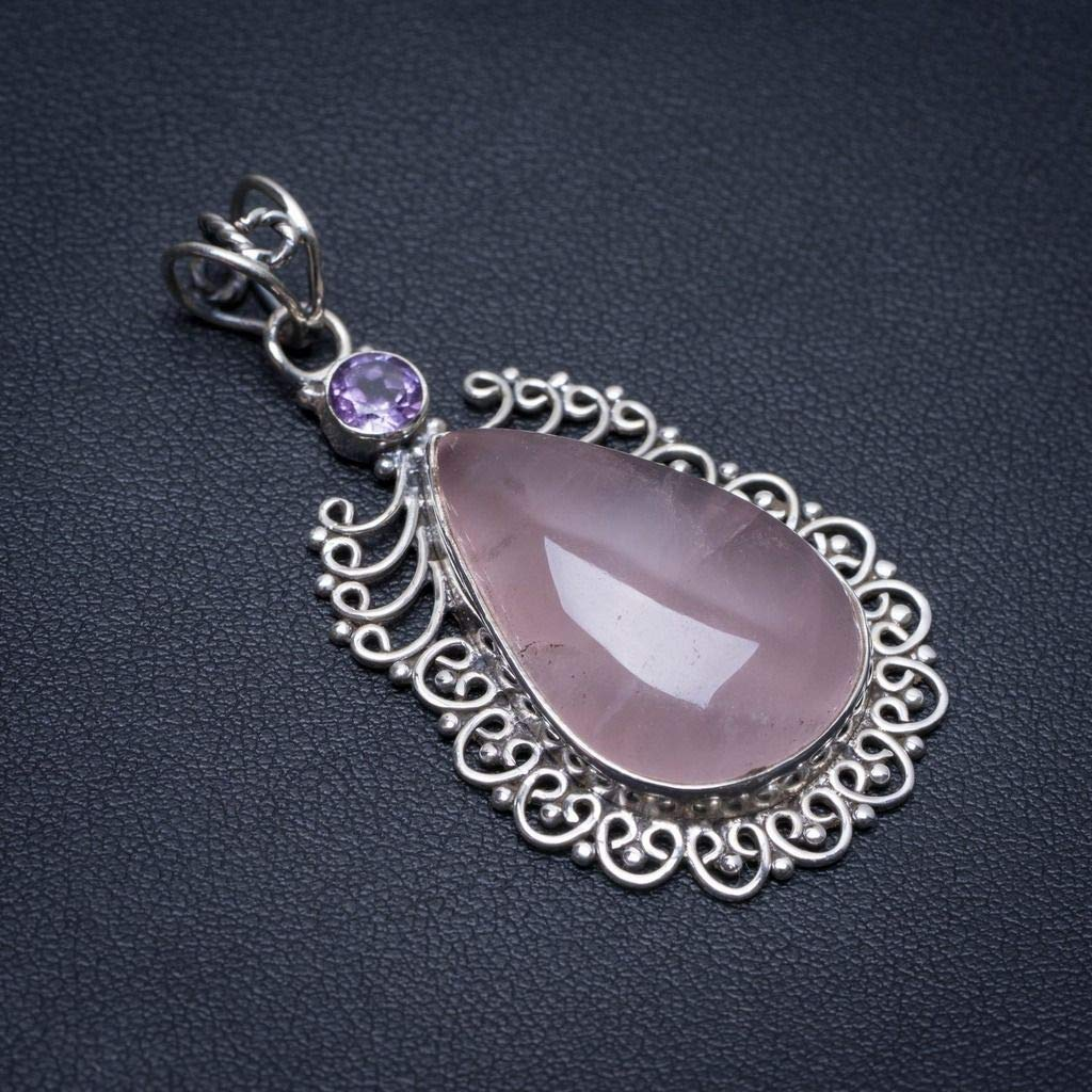 Natural Rose Quartz and Amethyst Boho Style 925 Sterling Silver Pendant 2 S0476