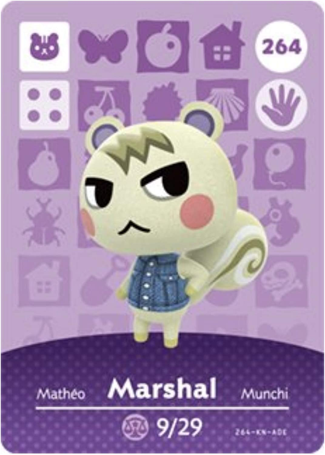 No. 264 Marshal Nintendo Animal Crossing Amiibo Cards Series 3. Third Party NFC Card. Water Resistant