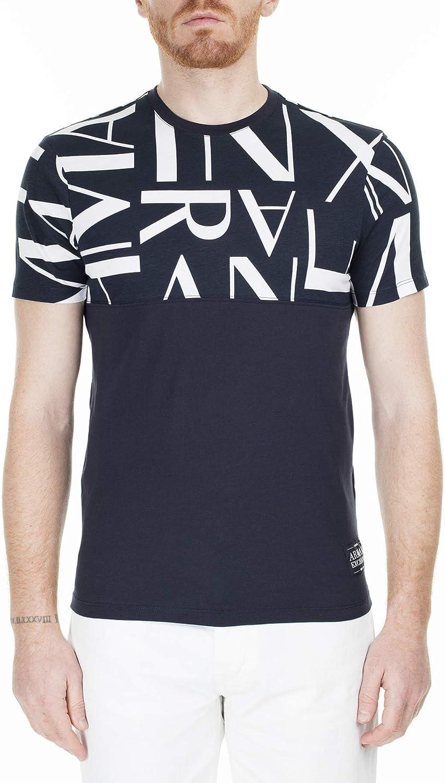 AX Armani Exchange Men's Regular Fit Frame Logo Crewneck Cotton Graphic Tee