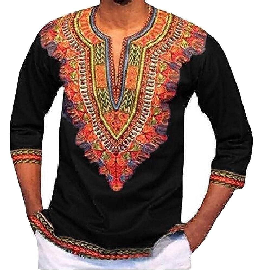 Cromoncent Mens Tee Dashiki Tribal Top Print African T-Shirt