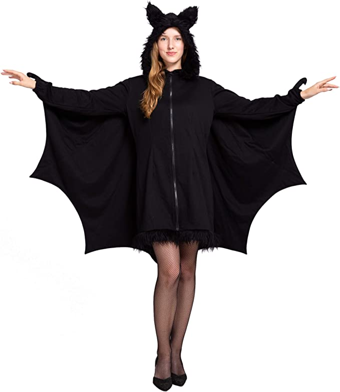 Spooktacular Creations Woman/'s Black Bat Zip Hoodie Halloween Costumes for Adults