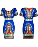 Lookatool Women Traditional African Print Dashiki Bodycon Short Sleeve Dress