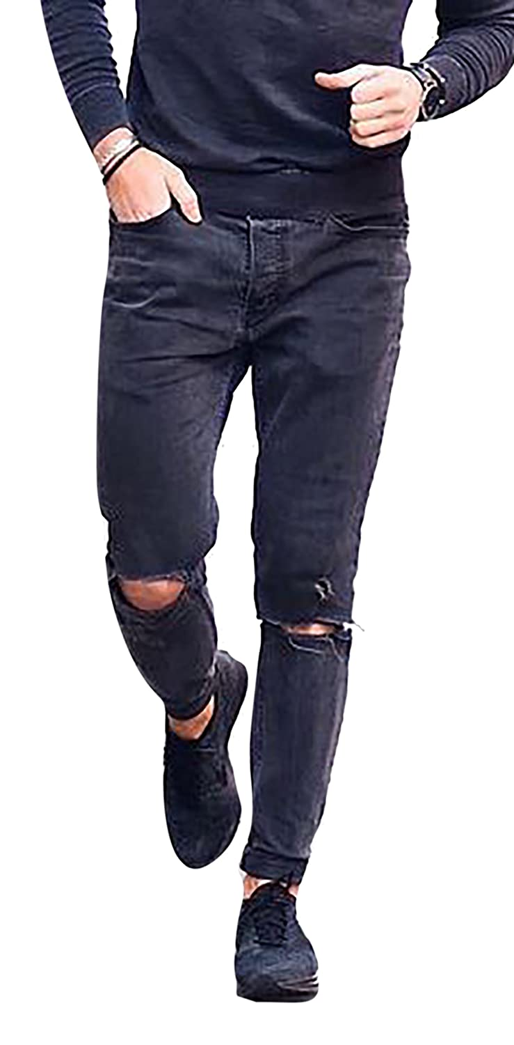 OKilr Pjik Mens Vintage Black Skinny Fit Destroyed Distressed Ripped Washed Denim Jeans