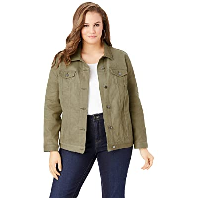 Roamans Women's Plus Size Essential Denim Jacket at Women's Coats Shop