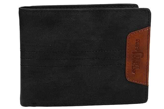 Cartera hombre ANTONIO BASILE negro cuero con monedero y solapa lateral VA2035: Amazon.es: Ropa y accesorios