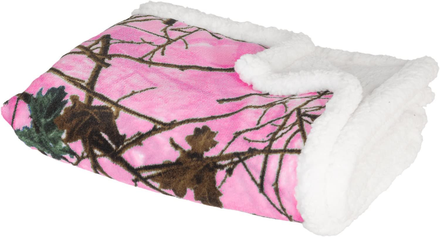 Baby Blazing Pink Forest Soft Poly fleece Sherpa Blanket 30 X 42 by TrailCrest