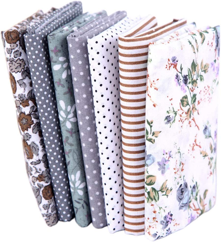 7PCS 20 x 20 Squares Floral Cotton Craft Fabric DIY Mask Making Supplies Quilting Sewing Patchwork Fat Quarter Bundles for Cushions Face Cover Scrapbooking Art Craft Gray