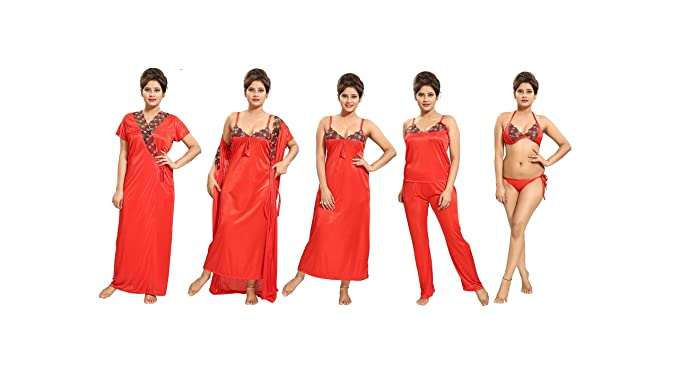 29a07583b Image Unavailable. Image not available for. Colour  TUCUTE Women s Satin  Nightwear Set of 6 ...