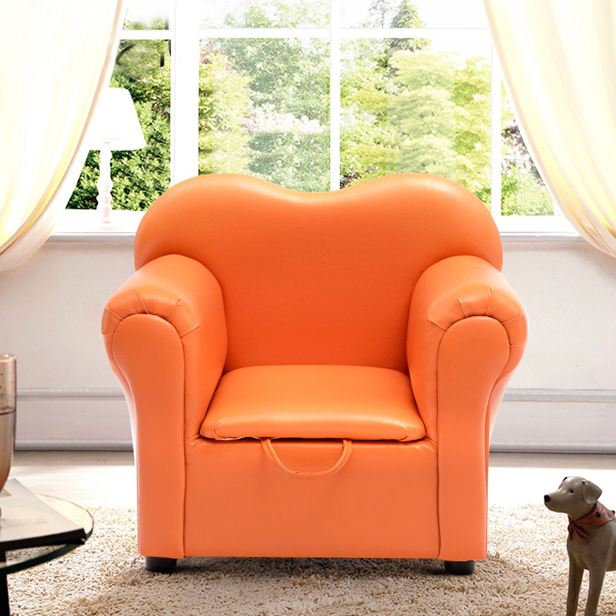 Costzon Kids Sofa, PU Leather Upholstered Armrest, Sturdy Wood Construction, Toddler Chair (Orange Sofa with Storage Box) by Costzon (Image #5)