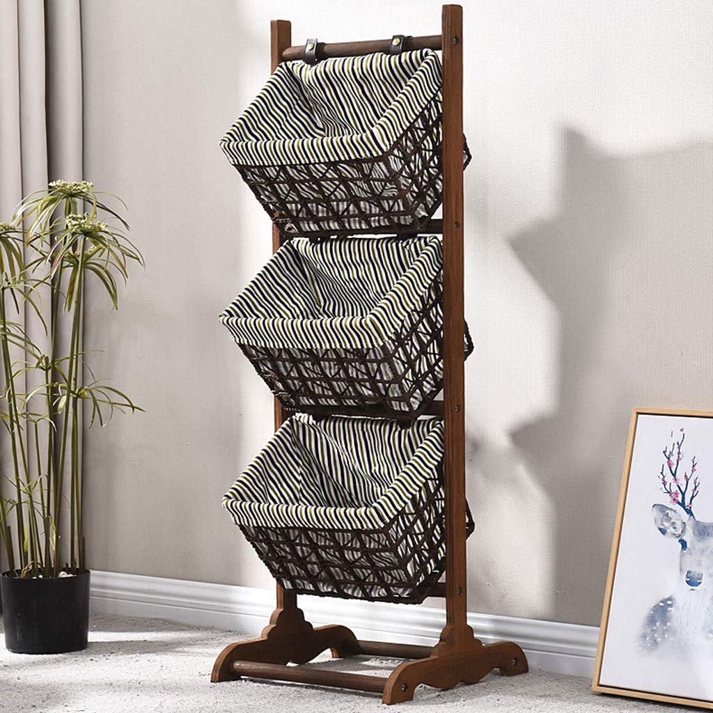J Storage Rack Multi-Function Three-Story Living Room Bedroom Toy Storage Rack Floor-Standing Clothing Basket Environmental Predection Solid Wood Basket (color   C)