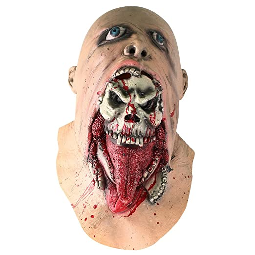 inkerscoop scary zombie skull face mask halloween costume party cosplay melting ghost mask adult latex costume