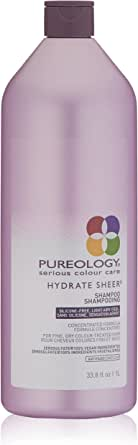 Pureology Hydrate Sheer Shampoo, 33.8 fl oz (1 L), ylang ylang, bergamot and patchouli, (Pack of 1)