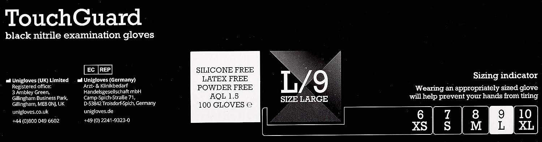 peque/ños Guantes de nitrilo negros desechables sin polvos ni l/átex caja de 100 unidades TouchGuard