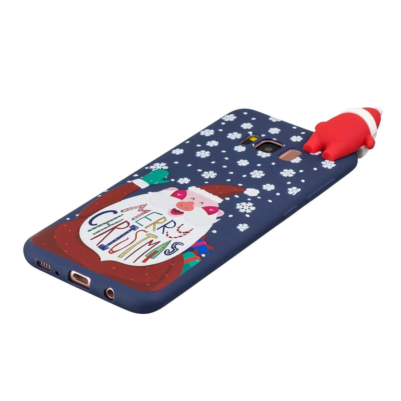 Yobby No/ël Coque pour Samsung Galaxy S8,Coque Samsung Galaxy S8 3D Cartoon Mignon Motif Ultra Mince Fine Etui Souple Silicone Caoutchouc Antichoc de Protection-Rouge Renne