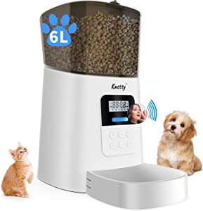Kastty Automatic Cat Feeder, 6L Dog Food Dispenser for Small Pets, 50 Portions Control for Small & Medium Pets, Voice Recorder and Programmable Timer for up to 6 Meals Per Day