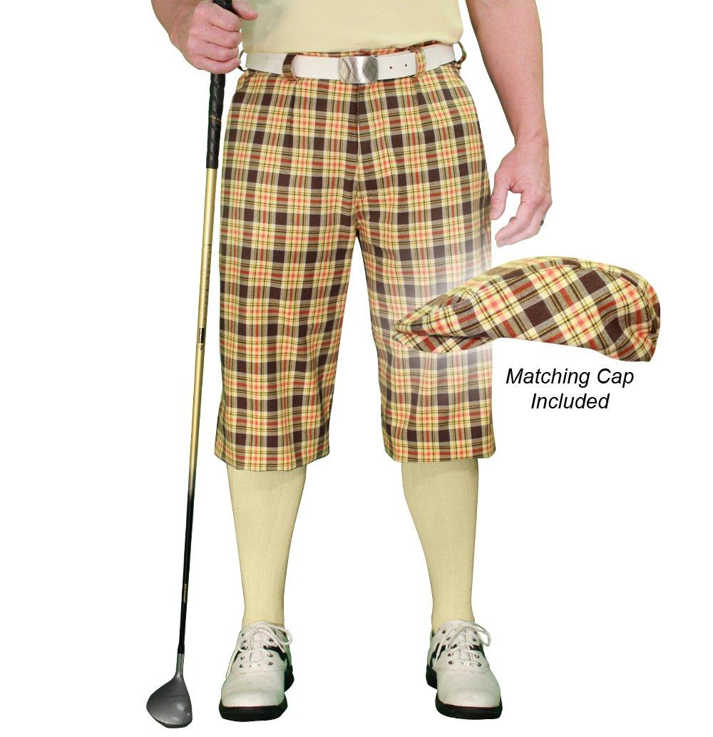 ゴルフKnickers Plaid andキャップ:メンズ' Par 5 ' – Cambridge 34  B07BHWCMVP