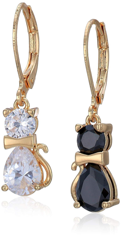 Betsey Johnson (GBG) CZ Cat Drop Earrings, Crystal/Black, One Size