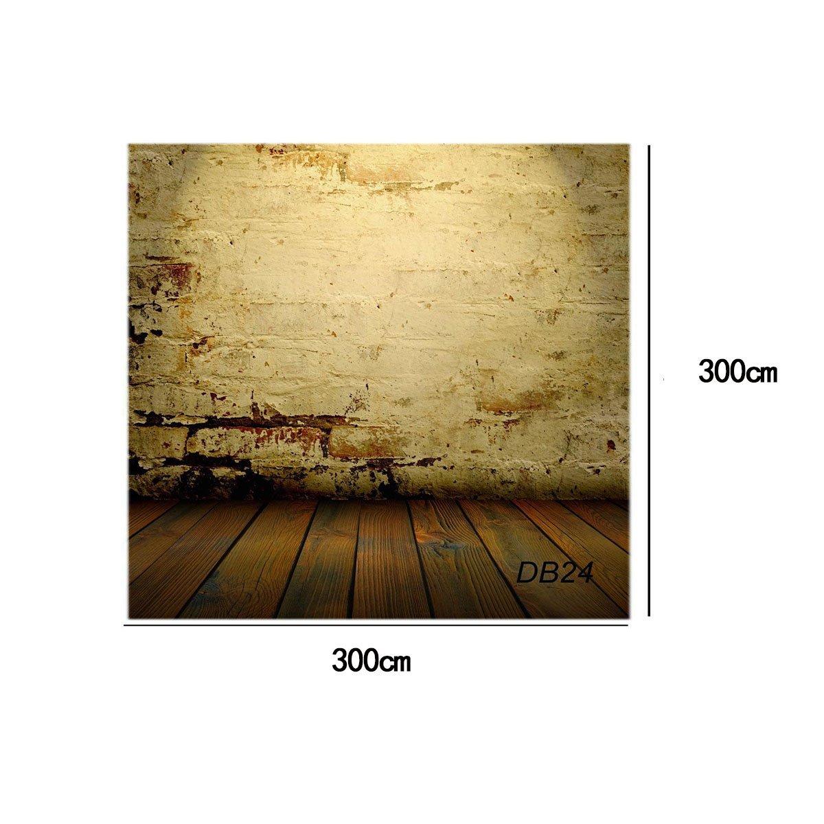 Amazon.com : 10X10ft Brick wall with wooden floor Vinyl Customized ...