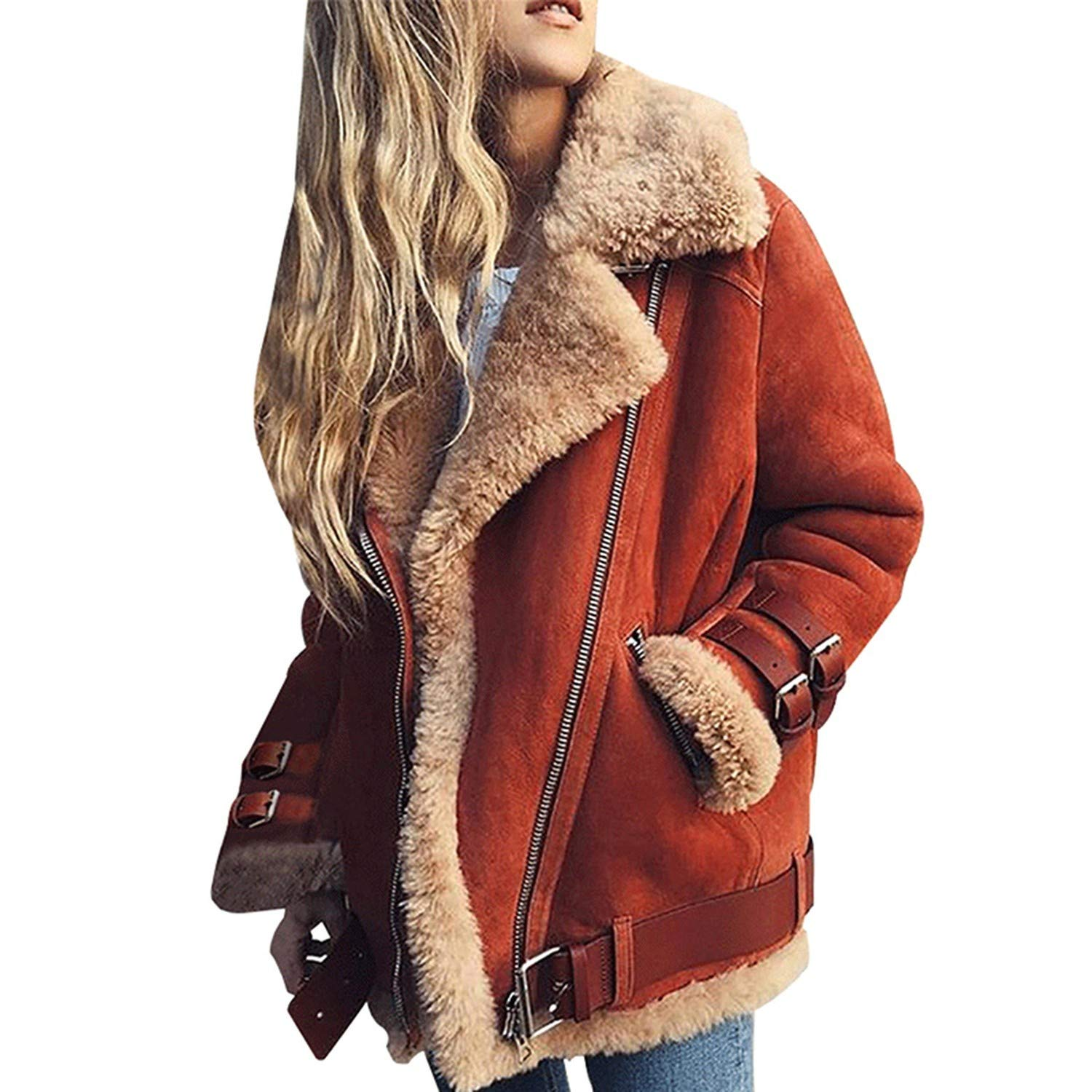 Red colorfulspace Winter Women Berber Fleece Casual Jacket Warm Thicken Jacket Streetwear Coat Plus Size
