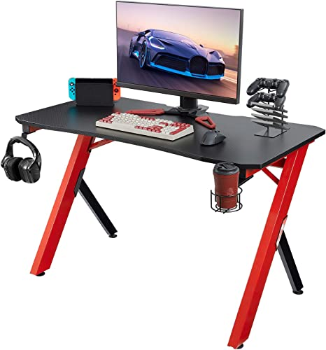 Homall Gaming Desk Computer Desk 47.2 inch Home Office Gaming Table Y Shaped PC Desk Workstation with Carbon Fiber Surface Cup Holder Headphone Hook
