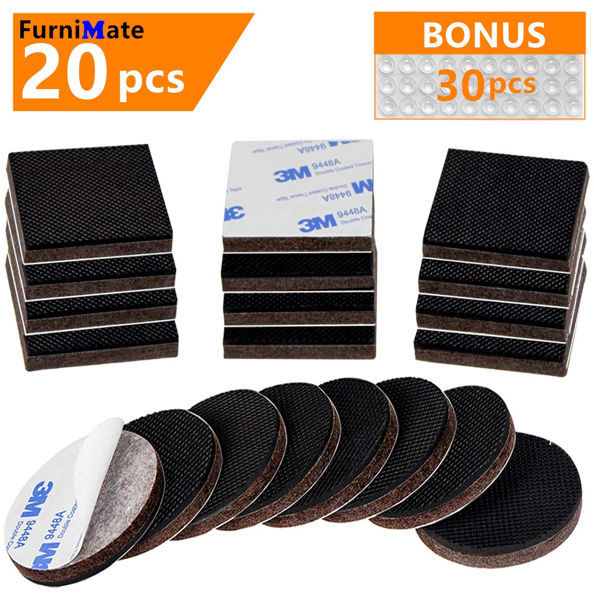 Anti Skid Slip Furniture Rubber Pads 20 Pieces 2' Furniture Stopper Gripper Hardwood Floor Protector Non No Slip Skid Self Adhesive in a Box with 30 Bumper Pads FurniMate FURNITURE PADS-00004B