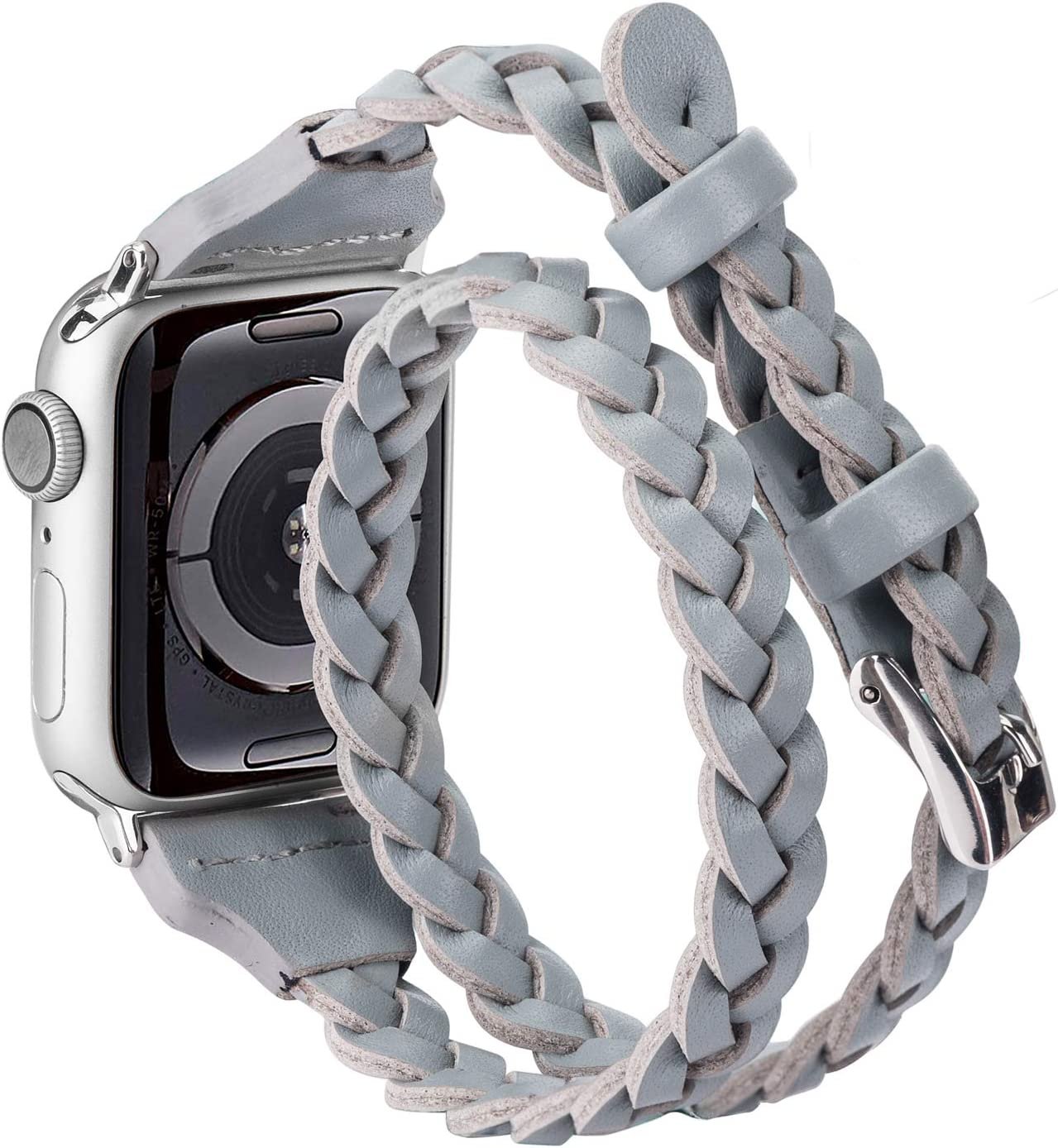 Moolia Double Leather Band Compatible with Apple Watch 38mm 40mm, Women Girls Woven Slim Leather Watch Strap Double Tour Bracelet Replacement for iWatch SE Series 6 5 4 3 2 1 (Gray, 38mm/40mm)