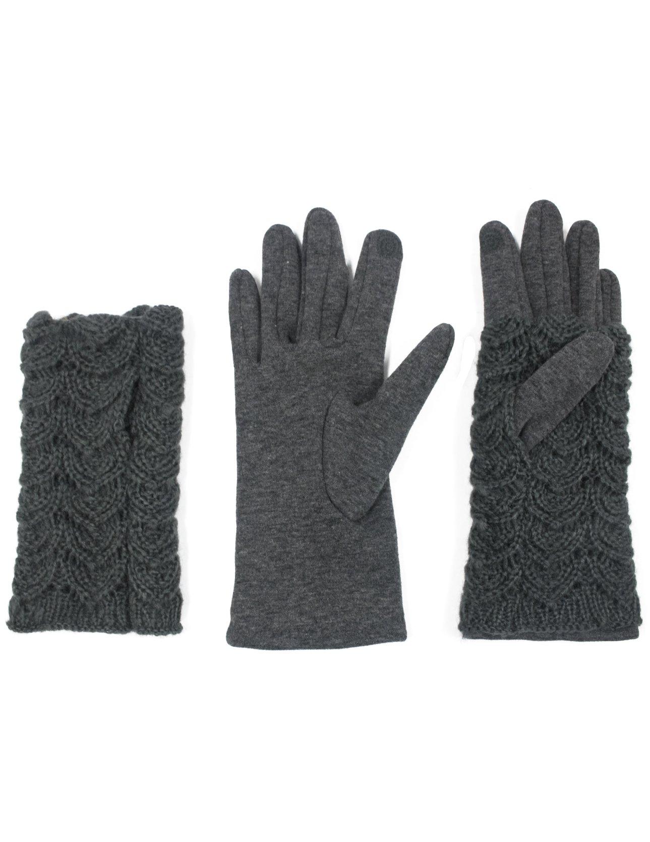 Dahlia Women's Lined Touchscreen Gloves - 2 in 1 Hand Warmer Gloves - Gray