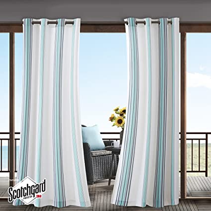Blue Curtains for Living Room, Modern Contemporary Fabric Curtains for  Bedroom, Newport Print Modern Window Curtains, 54X95, 1-Panel Pack