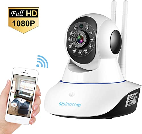 Updated Version IP Camera,SZSINOCAM 1080P FHD WiFi IP Camera Wireless Home Security Surveillance Camera Aerial Aluminum Alloy Chip For Elder Pet Baby Monitor,Pan Tilt,WIFI Enhanced,Two-Way Audio