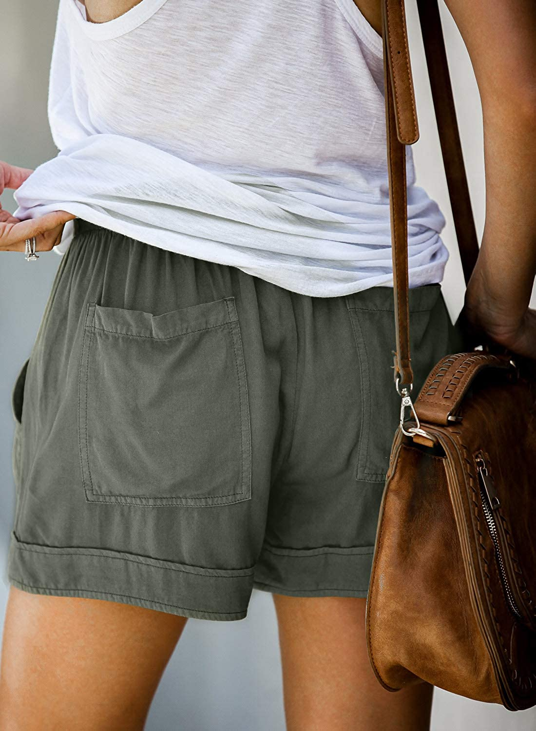 Happy Sailed Womens Casual Drawstring Tie Waist Comfy Cotton Linen Shorts with Pockets