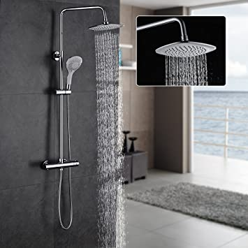 Auralum - Sistema de ducha sin grifo, con termostato, sin grifo ...