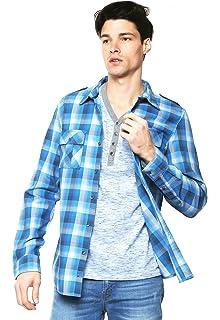 GUESS Mens Karter Plaid Linen Shirt