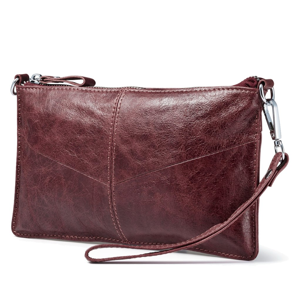 Lecxci Leather Crossbody Purses Clutch Phone Wallets with Card Slots for Women (Wax leather, Wine)