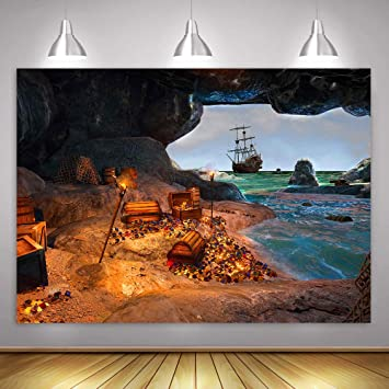 10x8ft Vinyl Treasure Background in The Cave Treasure Shining Treasure for Exploration Treasure Photography Background Props Children Adult Photo Background LYLS970 for Party Decoration Birthday YouTu