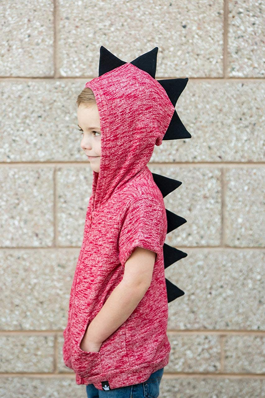 Littlest Prince Couture Thick Black Stripe /& Red Accent Long Sleeve Dino Hoodie Shirt