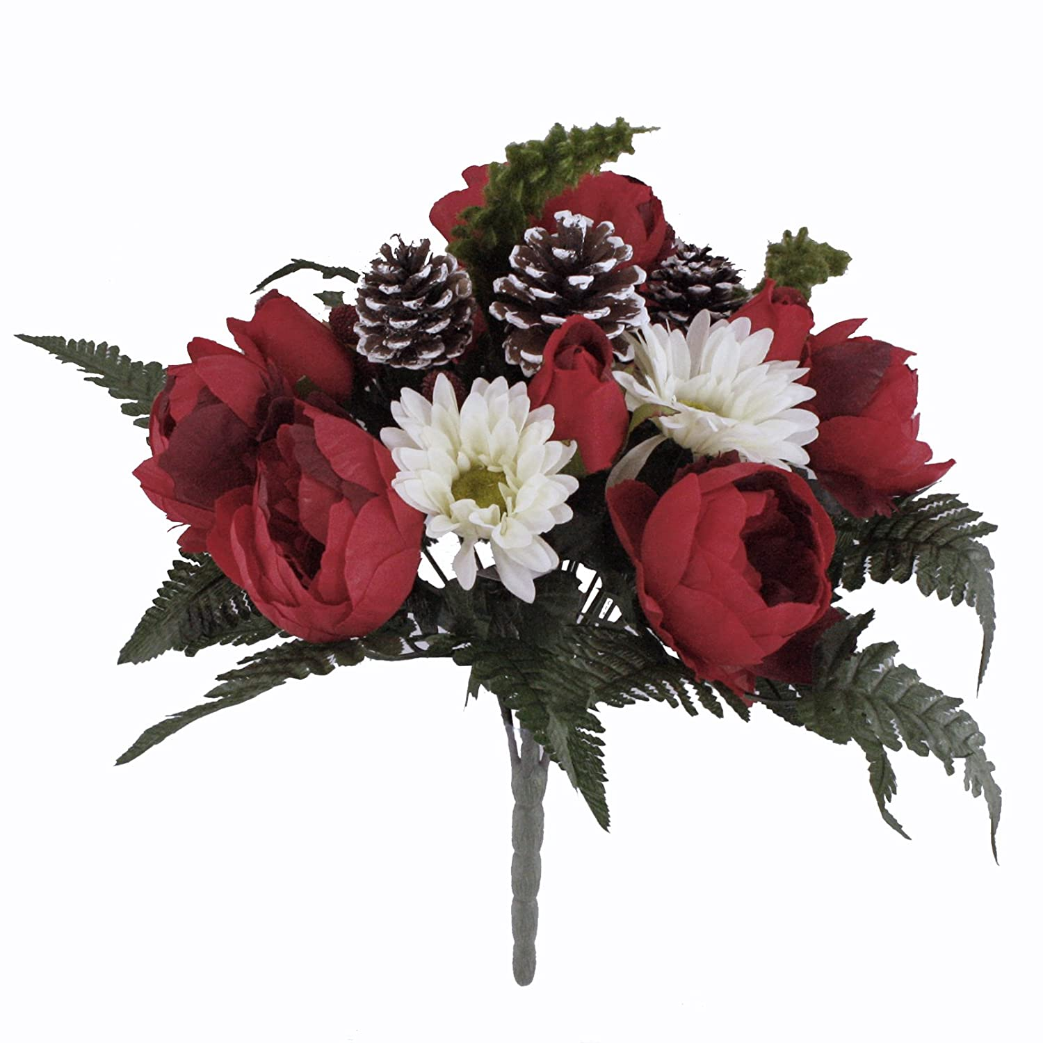 Christmas Flower Arrangements White.Floristrywarehouse Red White Christmas Bouquet Peony Rose Gerbera With Cones And Raspberries