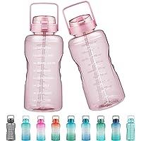 Justfwater lekvrije BPA-vrije drinkfles met tijdmarkering en rietje, 3,78 l sportwaterfles met handvat voor fitness, gym…