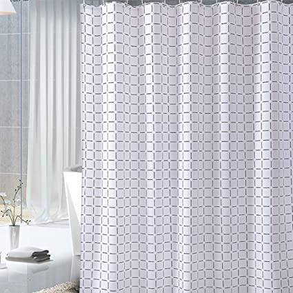 BAIHT HOME Antibacterial Waterproof Bath Curtain Polyester Fabric Soft Touch Black And White Grids Shower