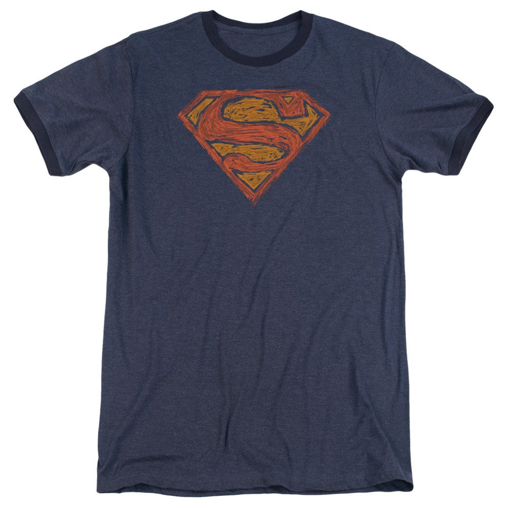 Superman Shirt Messy S Adult Ringer T