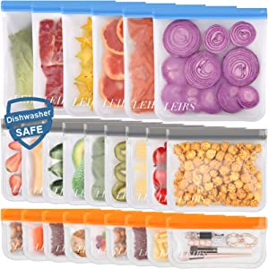 Dishwasher Safe Reusable Storage Bags, 24 Pack Extra Thick Reusable Food Bags, BPA Free Leakproof Reusable Freezer Bags (9 Reusable Sandwich Bags, 9 Reusable Snack Bags, 6 Reusable Gallon Bags)