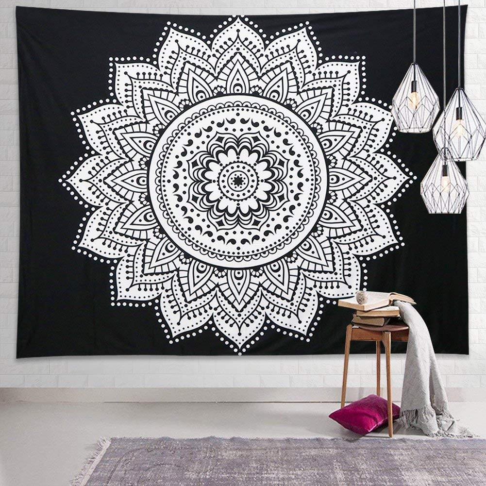Dremisland Indian Wall Decor Hippie Tapestries Bohemian Mandala Tapestry Wall Hanging Throw (M/59 52''(150130cm), White Flower)