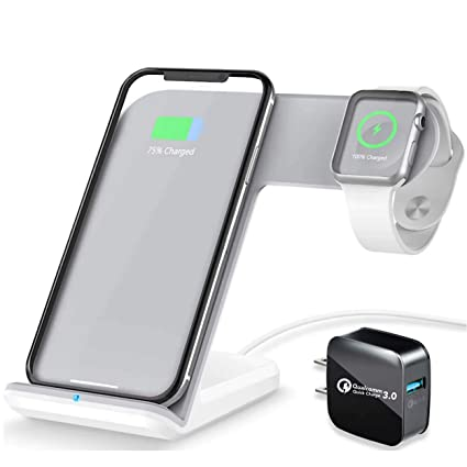 Acomm X Wireless Charger Station | QC 3.0 Fast Charging | 2 in 1 Charging Stand for Phones and iWatch | Horizontal and Vertical Charging | Supports ...